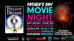 event flyer presenting the showing of the movie Field of Dreams, saturday, June 20 at 7 p.m.