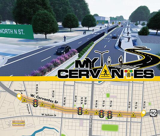 My Cervantes logo with Cervantes Street map