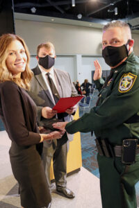 Sheriff Aden and wife during swearing in ceremony