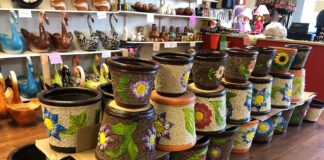 Mexican pottery on display at a store