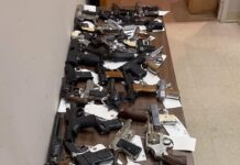 Dozens of hand guns on a table