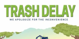 Trash Delay logo (We apologize for the inconvenience)