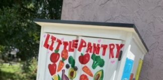 """Wooden box with """"Little Pantry"""" painted on it"""